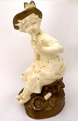 "Sitting Lady Ceramic Figurine 7.5"" Decor Ivory & Gold Sickle Vintage Tree Stump"