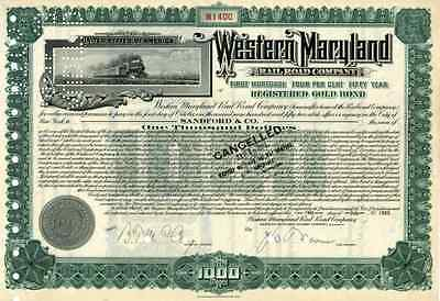 1933 Western Maryland RR Bond Certificate