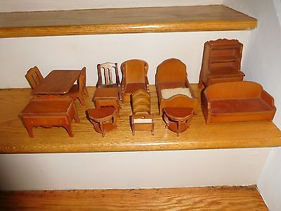 Lg Lot of Vintage Doll House Wood Furniture Table Chairs Bed Couch Hutch ETC
