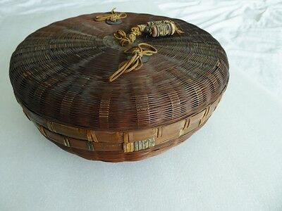 "Antique Chinese lge 10"" sewing basket, coins"
