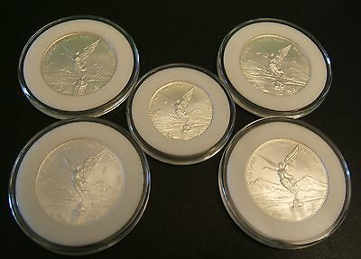 Lot of 5 BU 2015 Silver Mexican Silver Libertad Coins in Caps 1/2 & 1/4 oz. Onza