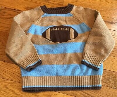 Heartstrings Kitestrings Sweater Blue Brown Boys 3t Appliqué Football Vguc