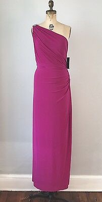 NWT Ralph Lauren Evening Dress Size 14 One Shoulder Fuschia Rhinestone Gown XL