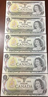 1973 Canadian One Dollar UNCIRCULATED BILL LOT OF 5 SEQ. ORDER BFE2302061/065