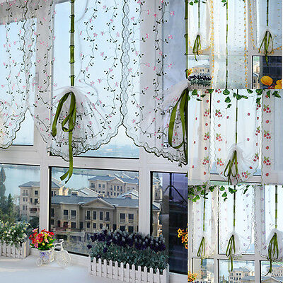 Room Floral Embroidery Window Curtain Sheer Voile Panel Drapes Curtain Valances