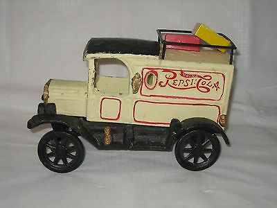 VINTAGE Pepsi Cola CAST IRON TRUCK with RACK ON TOP - EUC - Weighs over 5 lbs.