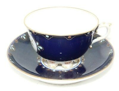 Beautiful Unknown Mark Cup & Saucer In Dark Blue With Enamel ?