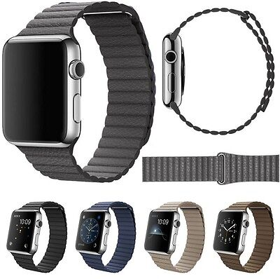 Genuine Leather Loop Watch Band Strap Magnetic Buckle For Apple Watch 38mm/42mm