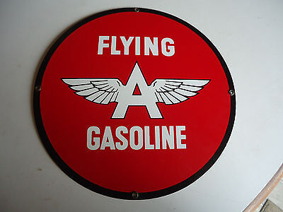 "Flying a Gasoline wing   porcelain Pump plate gas station sign 12"" advertising"