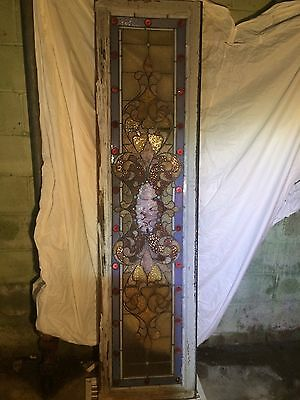 Antique Victorian Leaded Stained Glass Transom Window 1800's Specular Rare GEM