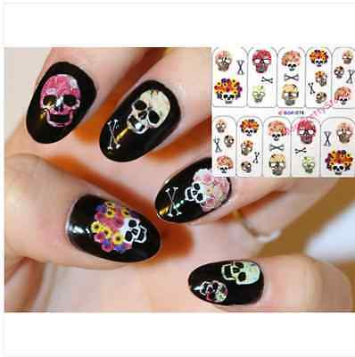 Nail Art Water Decals Transfer Stickers Skull Halloween Manicure Nail Decoration