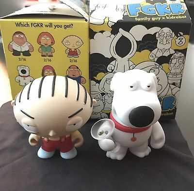 Family Guy X Kidrobot Vinyl Collectable Toys, Lot of 2, Stewie and Brian