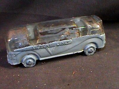 Vintage bus shaped candy container Victory Lines, w/V WWII era