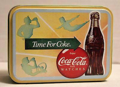 Original Collector Coca Cola Swiss Made Watches Tin England Time For Coke Empty