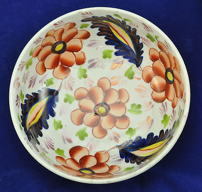 Antique Gaudy Welsh Plate Pearlware Footed Bowl 1850