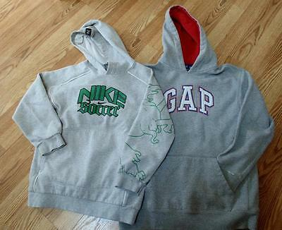 Lot of 2 Heavyweight Gray Hoodie Sweatshirts GAP &  Nike Soccer L/ XL Boys Used