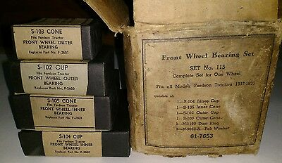 Nos! Vintage Fordson Ford Tractor Parts Bearing Set 1917-1933 S-102 103 104 105