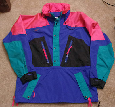 Mens Columbia Neon Colorblock Ski Jacket Pullover Sz Large 80s 90s Vintage