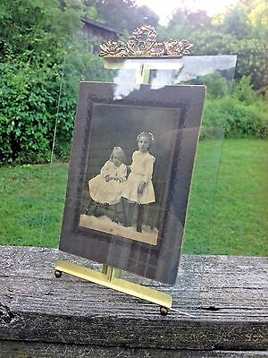 "Vintage Large French Ornate Brass Glass Picture Frame-11 3/4"" tall-HTF Large siz"