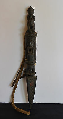 Old Hand Carved  Wood Nepalese Phurba Magic Dagger Collectable