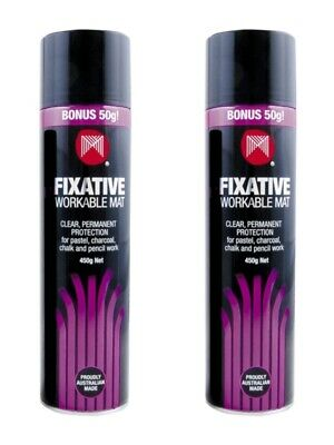 Micador Fixative Workable Mat Finish Glue Spray 450g - Twin Pack