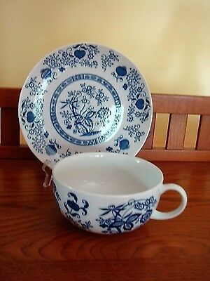 Vintage Blue Onon Large Soup Cup Bowl & Matching Luncheon Plate