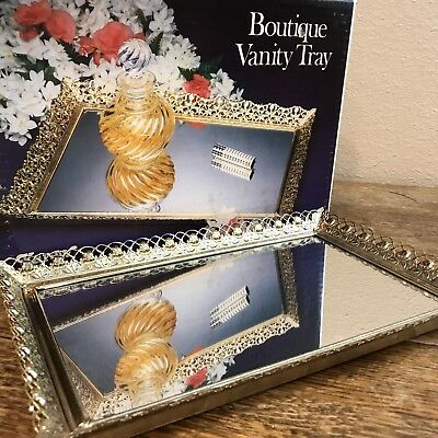 1970's Vintage Karew Rectangular Vanity Mirror  Dresser Tray Gold Filigree 10x15