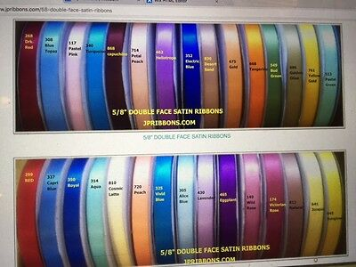 "5/8"" Double Face Satin Ribbons- Choose From 43 Color"