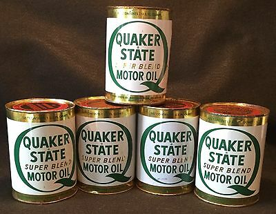 c.1950s 5pc ESTATE Full Quart QUAKER STATE Super Blend MOTOR OIL Metal Can LOT