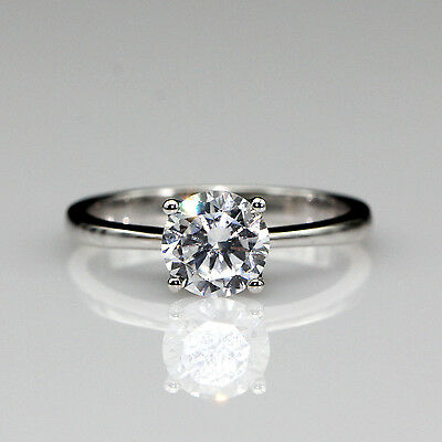 Foral Prong 1ct Moissanite 10K White Gold Solitaire Wedding Engagement Ring