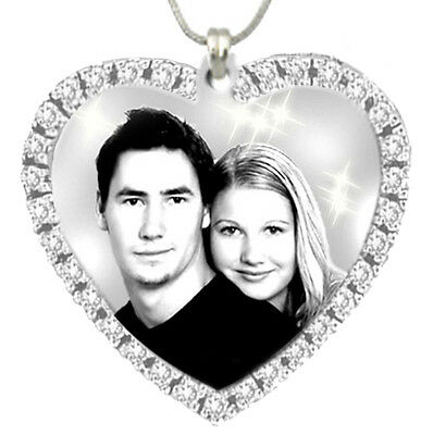 Personalised Photo Engraved 33mmx33mm Stone Heart Shape Pendant, Stainless steel