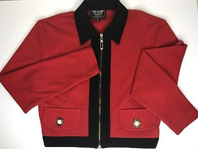 Vtg PG Collections Ginger Bort Red Cropped Jacket Blazer Sz 4, 80s Career Yuppie