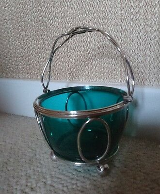 French Silver Plated Open Wirework & Green Glass Sugar Bowl 19th Cent.