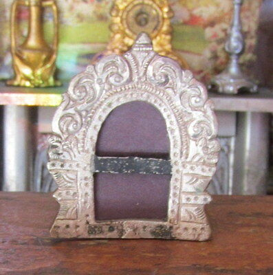 Antique Victorian 1800s Dollhouse Miniature Silver Pewter Metal Picture Frame