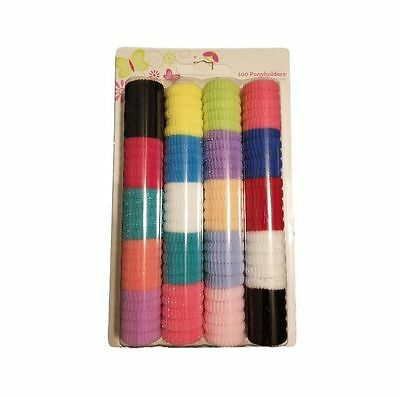 Pack of 100 Colorful Ponytail Holders Elastic Bands Hair Ties Baby Toddler Girl