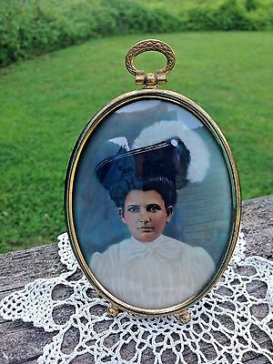 Vintage Hand Painted Lady Portrait in Oval Brass Picture Frame-Bubble Glass-Nice