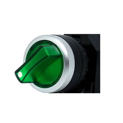 1PCS Green 12V LED 22MM Rotary Switch 2 Positions Changeover Illuminated