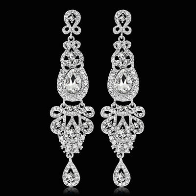 Long Crystal Drop Earrings Diamante Bridal Chandelier Rhinestone Dangle Precious