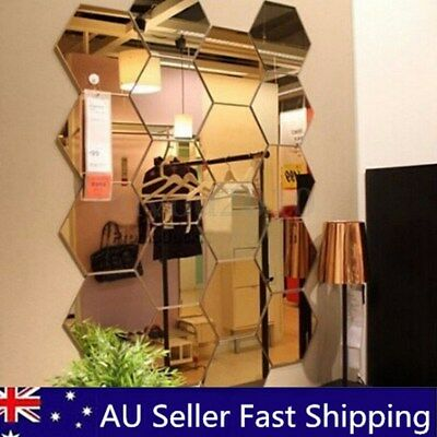 120Pcs 3D Mirror Hexagon Vinyl Removable Wall Sticker Decal Home Decor Art DIY