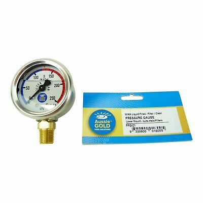 New Pool Filter Pressure Gauge Side Mount Aussie Gold Wika S/S - Sand & Cartridg