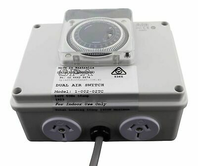 Splash Pool & Spa Air Switch Dual 10amp Socket - 24hr Timer Clock Controller