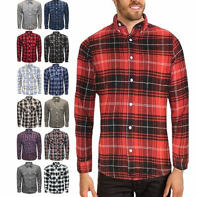Mens Flannel Brushed Cotton Work Shirt Lumberjack Check Long Smart laundered Fit