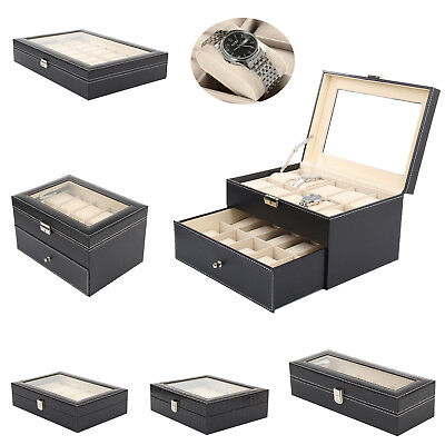 Faux Leather Watch Case Storage Display Box Organizer Jewelery Glass Collection