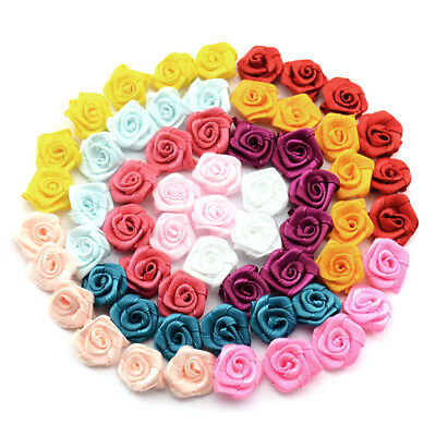 100pcs DIY Satin Ribbon Rose Flower Bow Appliques Wedding Party Home Decor