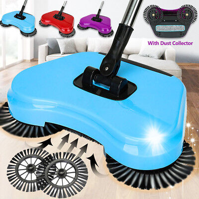 Spin Hand Push Sweeper Broom Household Floor Cleaning Mop NO Electricity+Brushes