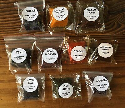 ~(x10) WAX COLOUR BLOCK PACK~SOY CANDLE/MELT/TART MAKING~BEGINNERS BULK BUY