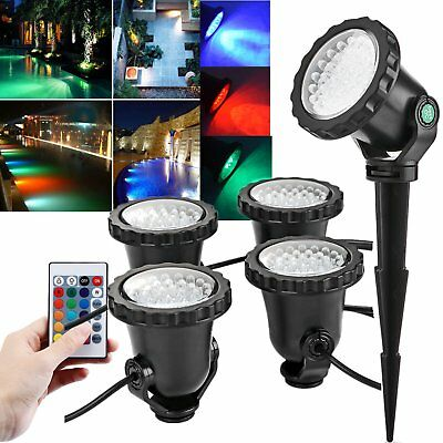 4pcs LED RGB Landscape Light Outdoor Garden Yard Lawn Underwater Spike Spotlight