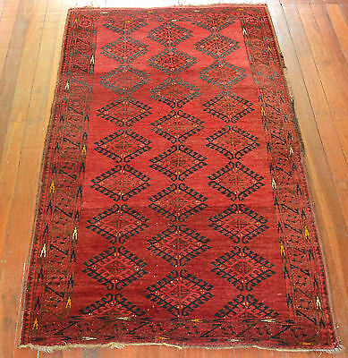 Antique Hand Knotted Turkoman Pile Rug Circa 1920 East Turkestan