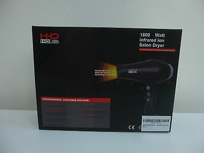 MHD Professional 1800w Infared Ion Salon HairDryer. UK Plug 8ft Cord + Diffuser