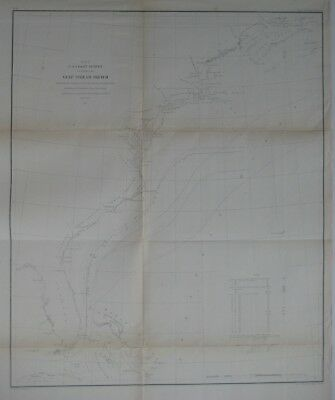 Original 1855 USCS Map GULF STREAM Florida Cape Hatteras Bahamas Atlantic Ocean